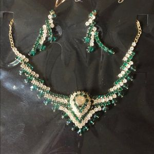 Jewelry set. Earrings and necklace